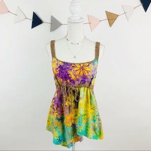 Floral Tie Die Tank w/Beaded Crochet Detailing